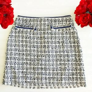 H & M Blue,Black & White Tweed Skirt
